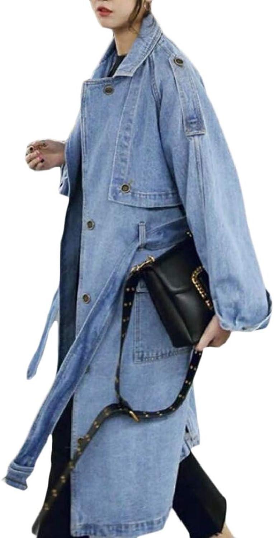 Easonp Womens Lapel Outwear Jean Denim Modern Oversized Belt Trench Coat