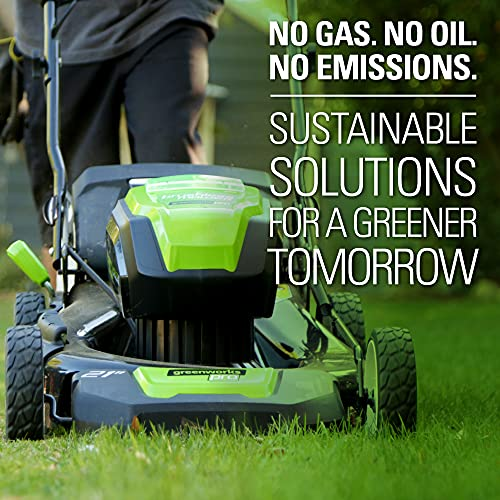 Greenworks Pro 80V 21-Inch Brushless Cordless (3-In-1) Push Lawn Mower, (2) 2.0Ah Batteries and Rapid Charger Included GLM801601