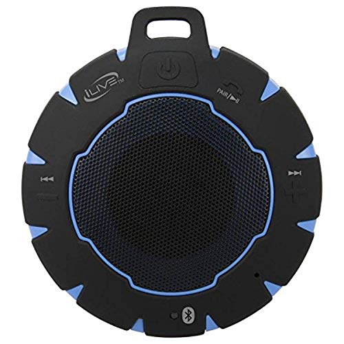 iLive Waterproof Wireless Speaker, Includes Detachable Carabiner Clip and Micro-USB to USB Cable, Black/Blue (iSBW157BU)