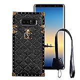 BabeMall Compatible for Samsung Galaxy S8 Plus Case, Luxury Diamond Design Metal Gold Four Corner Protective Square Anti-Fall PU Leather Back Classic TPU Bumper Case - Black