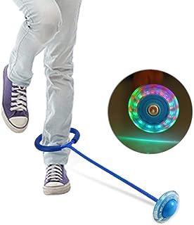 Pelota de salto enganchada al tobillo, luz LED intermitente, pelota de baile, pelota de juguete, juego de pie, pelota de deporte, equipo de fitness y ejercicio para niños y adultos