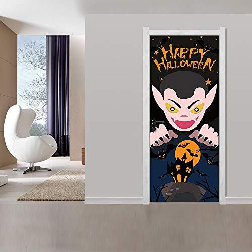 Türaufkleber 3D Türtapeten Fototapete Selbstklebend Tür Wandaufkleber Halloween-Ideen Wandbild Tür Poster Türbild Für Wohnzimmer Kinderzimmer Badezimmer Dekoration88x200cm