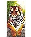 Stillshine. Serviette de Plage 3D Tigre Grande Taille XXL Adulte Homme Enfant Garcon Ado Microfibre Serviette de Bain Couverture Serviette Tapis de Plage Camping Linge de Bain Jaune (70 x150 cm)