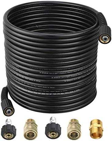 M MINGLE Pressure Washer Hose 50 Feet X 1 4 Inch for Most Brands with 2 Quick Connect Kits Compatible product image
