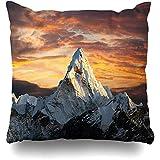 Naturaleza Montaña Azul Noche Vista panorámica Monte AMA Nepalí Dablam Everest Parques Cumbre Superior Himalaya Fundas de cojín Divertidas y Lindas para Viajes Largos Escapadas Cortas,45x45cm