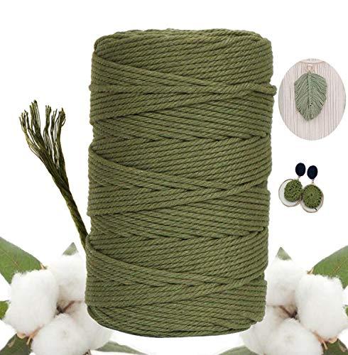 Macrame Cuerda,Cordón de macrame de Algodón Natural Hecha a Mano Craft Cuerda DIY Natural Trenzado Algodón para DIY Planta de Colgar en la Pared Percha Hecha a Mano Craft
