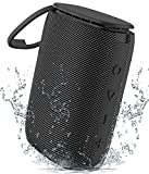 IPX7 Waterproof Shower Bluetooth Speaker, Sewowibo Portable Wireless Outdoor Speaker with HD Sound Support TF Card Built-in Mic, Lanyard for Home, Pool, Beach, Boating, Hiking 15H Playtime - Black