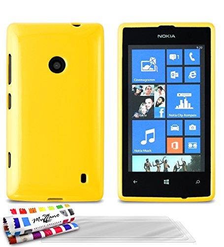 Muzzano Le Glossy Hybrid - Funda para Nokia Lumia 520, incluye 3 protecciones de pantalla, color amarillo