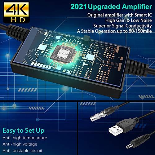2021 Neuf Version Antenne TV Intérieur,Noir Elliptique Antenne Intérieure 240KM- Gamme Amplificateur Intellectuel Signal,Convient aux 1080P 4K Chaînes Télévision Gratuites,5 Mètres Câble Coaxial