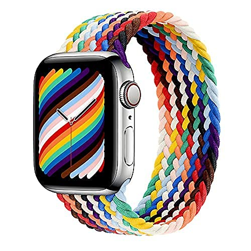 Band Only Loop Braided Compatible for Apple Watch 38mm 40mm 42mm 44mm Elastic Fabric Strap for iWatch Series 6/SE/5/4/3/2/1