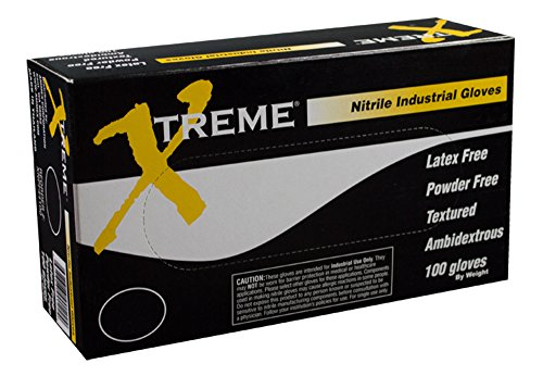 AMMEX Nitrile Industrial Disposable Gloves - Blue, 4 Mil, Latex Free, Powder Free, Industrial, Textured, Ambidextrous, Large, Box of 100