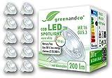 10 unidades de spots LED greenandco® IRC 90+ MR16 GU5.3 3W (corresponde a 20W) 200lm 2700K (blanco cálido) COB LED 38° 12V AC/DC