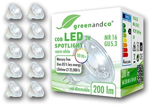 10x greenandco® CRI 90+ LED Spot ersetzt 20 Watt MR16 GU5.3 Halogenstrahler, 3W 200 Lumen 2700K warmweiß COB LED Strahler 38° 12V AC/DC Glas mit Schutzglas, nicht dimmbar, 2 Jahre Garantie
