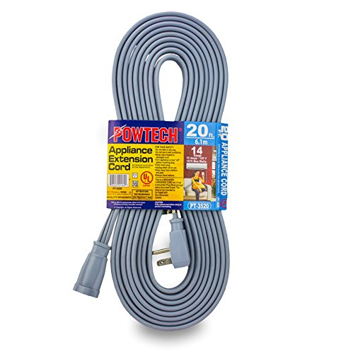 POWTECH Heavy duty 20 FT Air Conditioner and Major Appliance Extension Cord UL Listed 14 Gauge, 125V, 15 Amps, 1875 Watts GROUNDED 3-PRONGED CORD