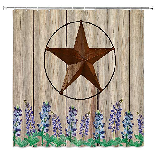 Dachengxing Rustic Wooden with Texas Star Bluebonnet Shower...