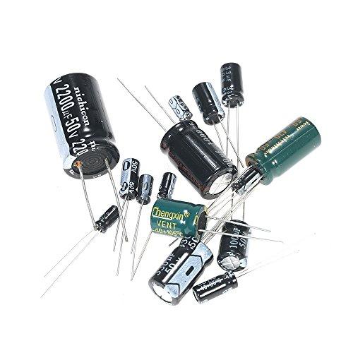 KKmoon 120 Pezzi 15 Valori Kit Assortiti Condensatori Elettrolitici da 1uF-2200uF 50V