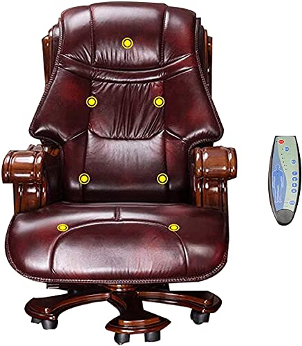 QNN Office Chair Executive Chair, Executive Office Chair Swivel Chair, Solid Wood Cowhide Chair, Home or Business Activities Can Lift Computer Chair, Gaming Chair/Coffee / 150 / 155Cm,Coffee,150