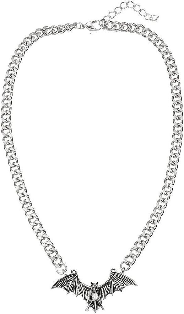 Halloween Bat Necklace, Vintage Punk Gothic Bat Pendant, Horror Choker Alloy Collar, Jewelry Gift