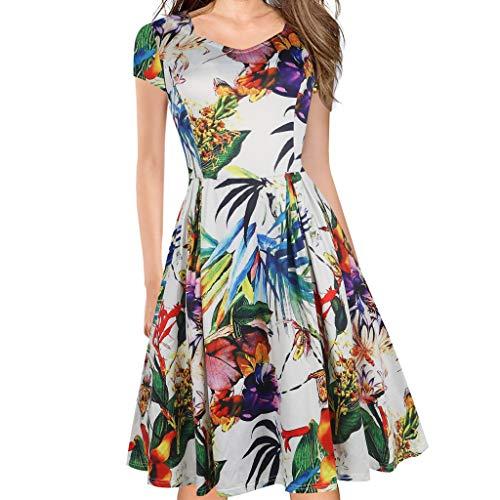 COZOCO Vestido de Hermosa Ola Punto Color sólido Elegante Retro impresionista Vestido de Cintura(Azul,2XL