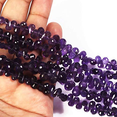 Shree_Narayani Cuentas sueltas de amatista de calidad AAA, de 6 x 4 – 11 x 7 mm, con forma de lágrimas facetadas, 20 cm para hacer joyas, collares, pulseras, pendientes, manualidades, 1 hebra