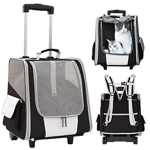 Tresbro Hunderucksack, 3in1 trolley hund Faltbarer Katzenrucksack für Katzen und Hunde, Atmungsaktiver Haustier Rucksack mit Innerer Sicherheitsleine, zum Wandern, Reisen, für den Außenbereich