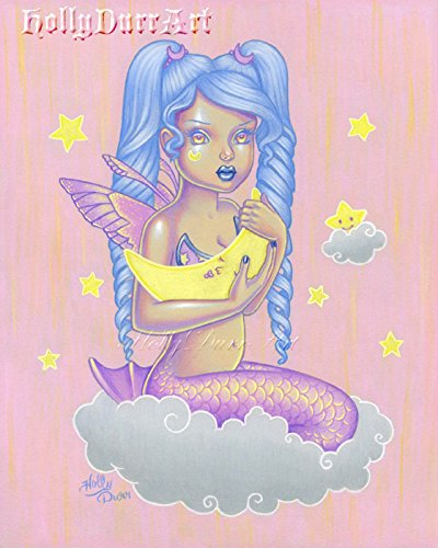 Original Mermaid Art, Moon Child, Colored Pencil Painting