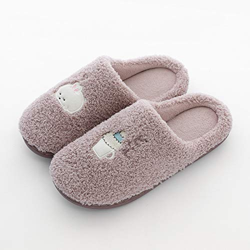 Pantuflas,Zapatillas de Invierno para Mujer, Bonita Zapatilla de casa Familiar, Zapatilla para Mujer, cálidos Zapatos Planos de Dibujos Animados, Zapatillas de Interior para Amantes-Women2,40