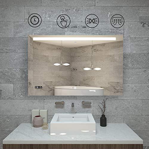 Qiyang badspiegel mit Beleuchtung 1000 x 700 x 35 MM wandspiegel Bad Mit Demister Pad & Touch Schalter led Spiegel mit Uhr Aus Aluminium und umweltfreundlichem Spiegel