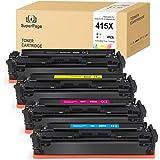 [Sin Chip] 4 Superpage reemplazo para HP 415X W2030X W2031X W2032X W2033X 415A Cartuchos de tóner para HP Color Laserjet Pro M454dn M454dw MFP M479dw M479fdn M479fdw,Negro Cian Magenta Amarillo
