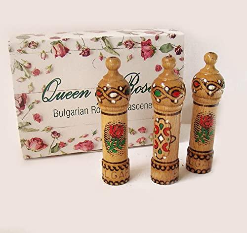 Aceite de rosa de Bulgaria, 3 recipientes de madera (21 ml). Regalo de recuerdo
