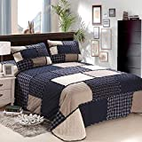 Yuerong Tagesdecke Bettüberwurf,Gesteppte Doppelbettdecke aus Baumwolle, dreiteilige Decke aus amerikanischem Patchwork, blaues Plaid,230x250cm