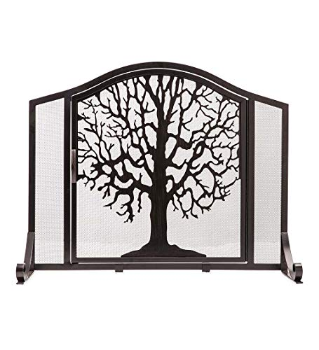 Plow & Hearth Large Tree of Life Metal Fireplace Screen with Single Hinged Door, Free Standing Spark Guard, 44 W x 33 H x 11.5 D, Black and Gold Flecked
