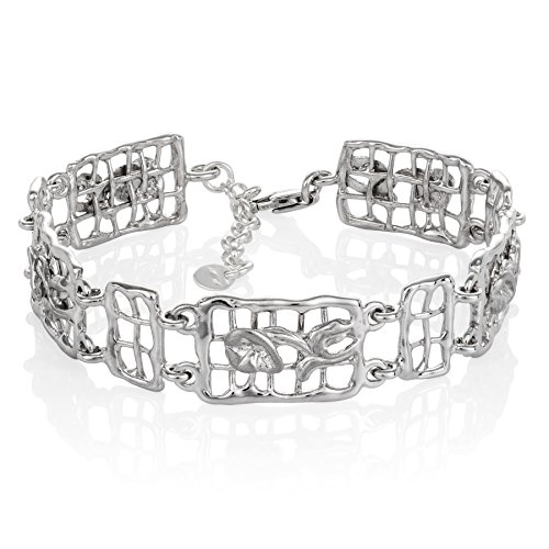 LillyMarie Damen Armkette Silber 925 Rechteckig mit Blumen Längen-verstellbar Geschenke