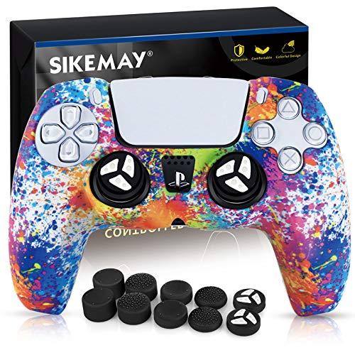 SIKEMAY Silikon-Schutzhülle für PS5 Dualsense Controller Grip x1, Schutzhülle für Playstation 5 Zubehör mit 10 Daumengriffkappen (Regenbogen-Graffiti)