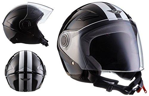 MOTO U52 Racing Black · Casco Demi-Jet Mofa Cruiser Bobber Moto motocicleta Piloto Scooter Urban Biker Urbano Chopper Vintage Vespa Helmet Retro · ECE certificado · visera incluido · incluyendo bolsa de casco · Negro · S (55-56cm)