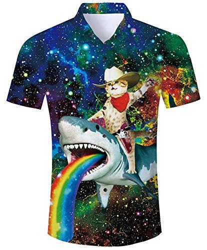 RAISEVERN Men's Hawaiian Dress Shirt Casual Galaxy Captain Cat & Rainbow Shark Print Button Down Short Sleeve Holiday Aloha T-Shirt