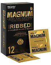 Trojan Magnum stora ribbade och smörjade kondomer med latex av högsta kvalitet – paket med 12