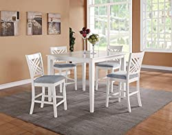 Standard Furniture Brooklyn White Square Counter Height Table W 4 Chairs