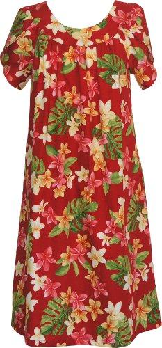 RJC Women's Yellow Plumeria Muumuu Dress, Red, S