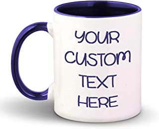 Custom Color Handle Coffee Mug Custom Personalized Text Ceramic Tea Cup 11 Ounces Blue Inner Handle