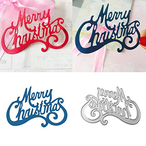 Ruby569y - Fustelle in metallo, motivo: Buon Natale, fai da te in metallo, stencil, album di ritagli, biglietti di auguri, decorazione per fai da te, biglietti di auguri, colore: argento
