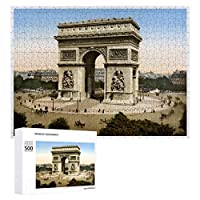 INOV ヴィンテージフランス 凱旋門1904年 パリ プリント ジグソーパズル 木製パズル 500ピース 38 x 52cm 人気 パズル 大人、子供向け 教育玩具 ストレス解消 ギフト プレゼントpuzzle