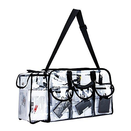 LUVODI Clear Makeup Bag, Cosmetics Storage Bag Travel Pro Makeup Artist Bag with Detachable Shoulder Strap, PVC Toiletry Vanity Organizer with 6 External Pockets, Large