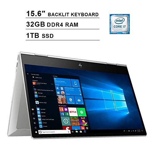 2020 HP Envy X360 15.6 Inch FHD 1080P 2-in-1 Touchscreen Business Laptop, Intel Quad Core i7-10510U up to 4.9GHz, Intel UHD Graphics, 32GB DDR4 RAM, 1TB SSD, WiFi, Backlit KB, FP Reader, Windows 10