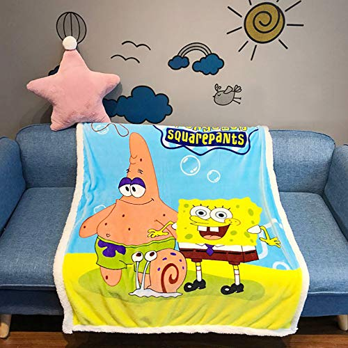EIIORPO Cartoon Sponge Bob Sherpa Throw Blanket Super Soft Cozy Plush Fleece Blanket for Bed Couch Chair Baby Crib Living Room(40'X 55', Sponge Bob) …