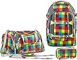 Satch by Ergobag sac à dos d'école cartable lot de 3 pièces Beach Leach 2.0 - pixellisé multicolore