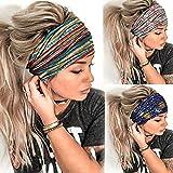 Morebrave Boho Bandeau Wide Headbands Butterfly Bandana Yoga Head Wrap Floral Printed Hair Scarf Stylish Elastic Hair Band Spa Shower Hair Accessories for Women and Girls (Boho)