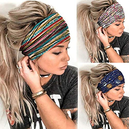 Morebrave Boho Bandeau Wide Headbands Butterfly Bandana Yoga Head Wrap Floral Printed Hair Scarf Stylish Elastic Hair Band Spa Shower Hair Accessories for Women and Girls (Boho)