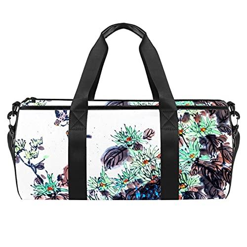 Bolsa de gimnasio de flores blancas para hombres y mujeres, bolsa de viaje con bolsillo impermeable