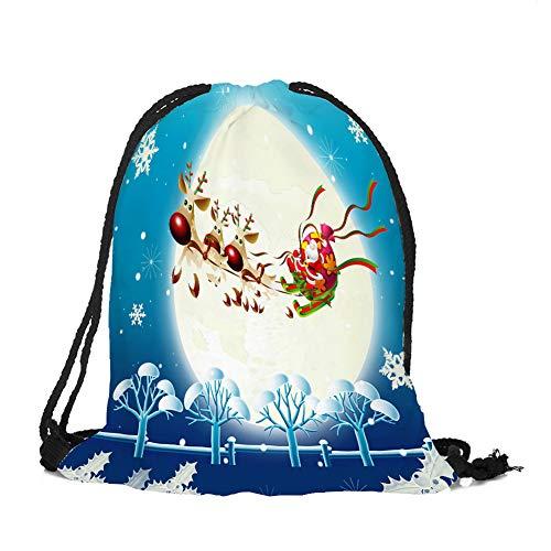Lumanuby 1x Elch Schlitten Turnbeutel Hipster Durable Oxford Stoff Sport Bag für Reisen mit Weihnachtsmann und Mond Bild Geschenk für Weihnachten, Kordelzug Tasche Serie 32x39cm